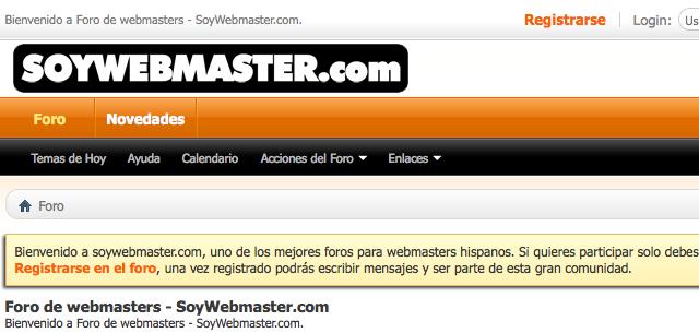 Soy webmaster, el foro para webmasters